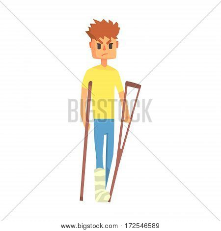 Guy With Broken Leg On Crouches, Adult Person Feeling Unwell, Sick, Suffering From Injury. Cartoon Character Unhealthy With Sicknesses Symptoms In Need Of Medical Treatment.