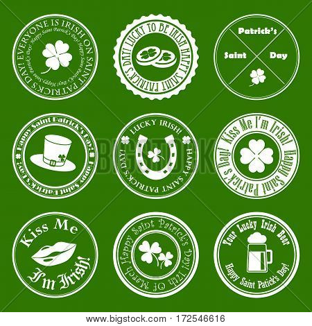 collection of vector st. patrick's badges on green background