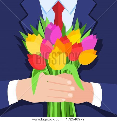 Concept of celebration. Bouquet of beautiful flowers. Business man holding out a bunch of tulips. Flat design, vector illustration.
