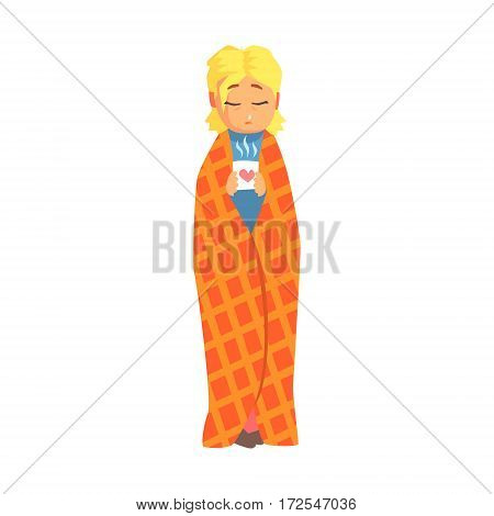 Girl Wrapped In Blanket With Hot Drink Having Cold, Adult Person Feeling Unwell, Sick, Suffering From Illness. Cartoon Character Unhealthy With Sicknesses Symptoms In Need Of Medical Treatment.