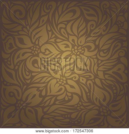 Brown vintage floral vector decorative background design
