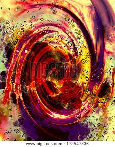 Abstract fire flames and spiral effecton on color background