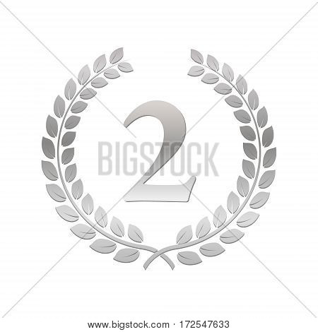 Silver Laurel Wreath. Award for winners. Honoring champions. Sign for 2nd place. Trophy for challenge. Symbol of victory and achievements. Vector illustration. Design element for posters decoration.