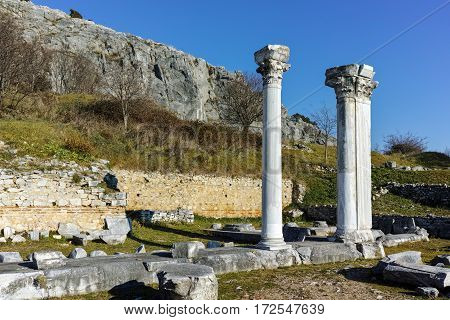 Panoramic view of archeological area of ancient Philippi, Eastern Macedonia and Thrace, Greece