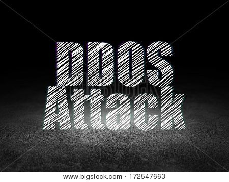 Protection concept: Glowing text DDOS Attack in grunge dark room with Dirty Floor, black background