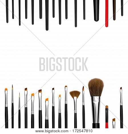 set of professional cosmetic brushes and promotion square frame on white background