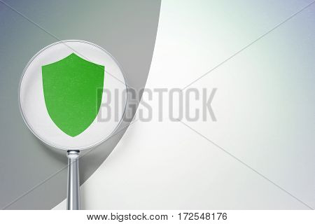 Safety concept: magnifying optical glass with Shield icon on digital background, empty copyspace for card, text, advertising, 3D rendering