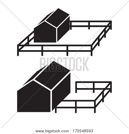 Simple icon of house silhouette with fence. Real estate or home security logo.