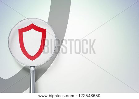 Privacy concept: magnifying optical glass with Contoured Shield icon on digital background, empty copyspace for card, text, advertising, 3D rendering