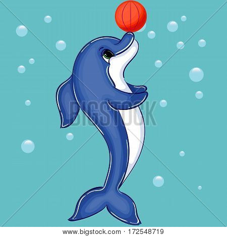 Dolphin Character with Basketball, Spherical Inflated Ball, Hand Drawn Vector Illustration
