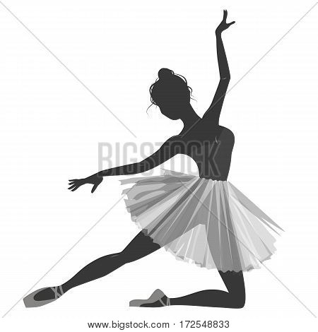 Dance girl silhouette isolated on white background. Ballerina. Vector illustration. Ballet dancer, princess, ballerina silhouette, ballerina girl, ballerina isolated.