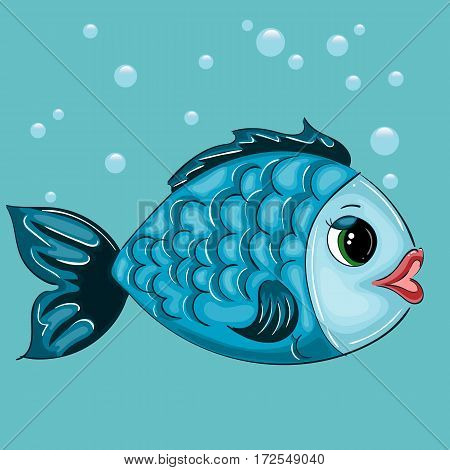 Fish Character with Green Eyes and Red Lips, Vector Illustration