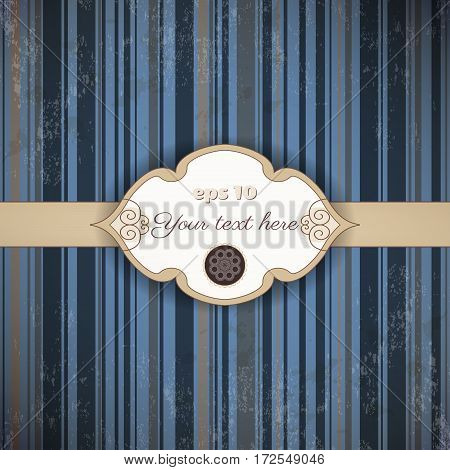 Vintage vector card. Old striped paper tape and stains. Figured frame for your text.