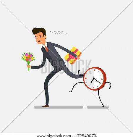 A man in a hurry on a date. Businessman running away from watches. Flat design, vector illustration.