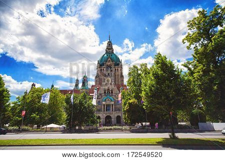 HANNOVER GERMANY - JUNE 9: City Hall of Hannover. Image of New City Hall of Hannover Germany during sunny spring day in 2012
