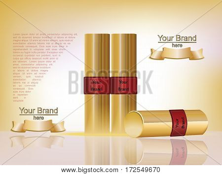 Makeup ads template. Colorful lipsticks mockup with sparkling background. Charming lips golden allure. 3d Vector illustration