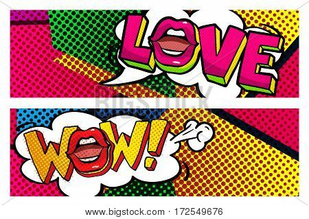 WOW and Love word bubble. Message in pop art comic style.