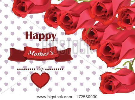 Realistic red roses bouquet Beautiful Flowers Roses Postcard for Happy Valentines Day, Birthday, Anniversary. Isolated on White Background - Vector illustration