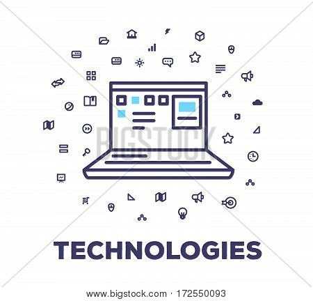 Vector Business Illustration Of Laptop, Digital Technology On White Background With Icon Cloud. Inno