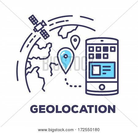 Vector Business Illustration Of Phone And Planet With Geo Blue Pin On White Background. Geolocation