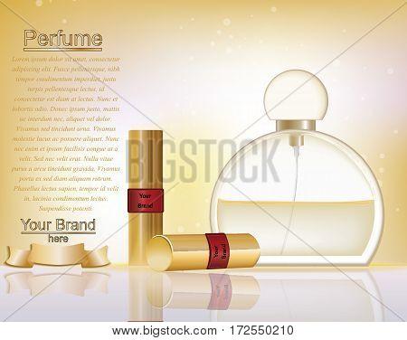 Makeup ads template. Gold lipsticks mockup with sparkling background. Charming lips golden allure. 3d Vector illustration