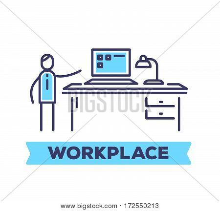 Vector Business Illustration Of A Man In The Office Standing At His Work Table With Blue Laptop On W