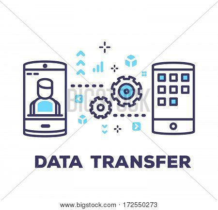 Vector Business Illustration Of Mobile Phones Sending Data On White Background With Blue Icons.