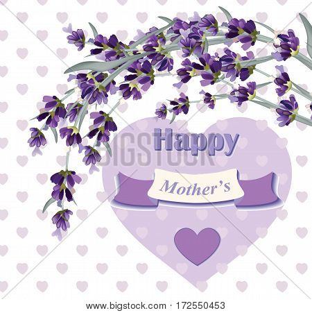 Beautiful lavender card for Mothers Day. Hearts background Vector