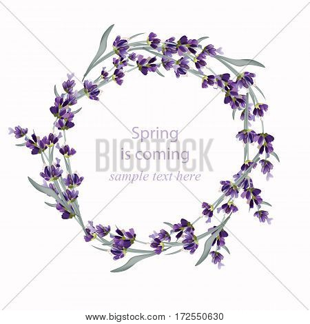 Beautiful lavender wreath Vector illustration. Hand drawn flowers for Thank you card, Greeting card, birthday or Invitation