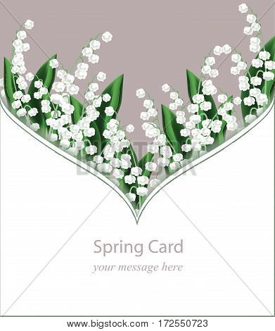 Lily of the Valley delicate flowers card frame for greeting cards, wedding announcements, posters