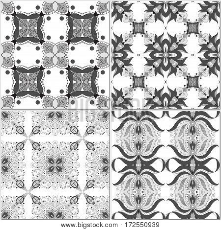 Set of four seamless backgrounds. Floral damask ornament. Easy to change colors.