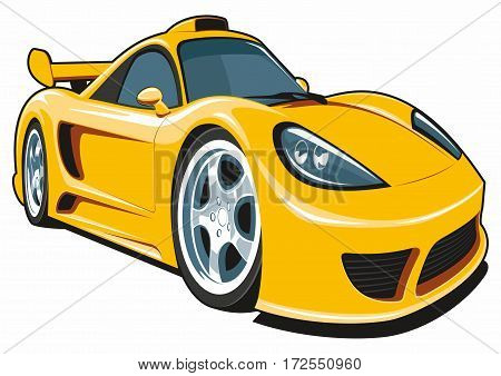 Vector cartoon yellow sport car isolated on white background.