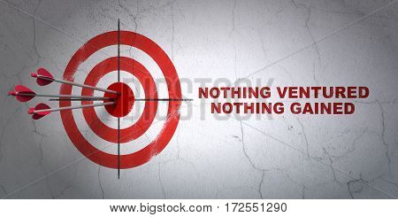 Success finance concept: arrows hitting the center of target, Red Nothing ventured Nothing gained on wall background, 3D rendering