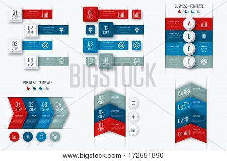 Set with infographics. Data and information visualization. Template. Stock vector