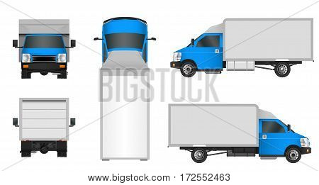 Blue Truck Template. Cargo Van Vector Illustration Eps 10 Isolated On White Background. City Commerc