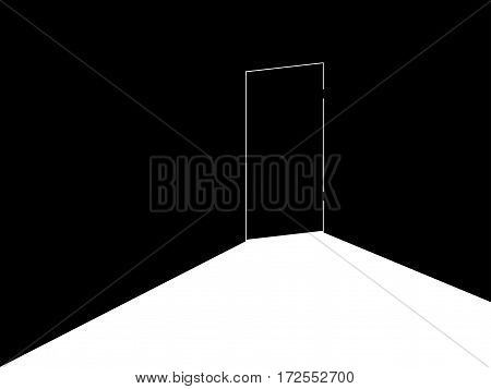 The Light Under The Door. Locked Door With Light. Retro Banner, Noir. Vector Illustration