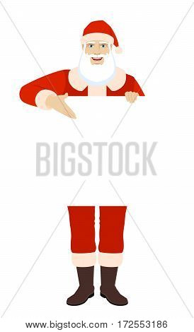 Santa Claus showing blank signboard. Full length portrait of Santa Claus in a flat style. Vector illustration.