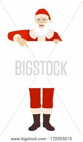 Santa Claus pointing at banner over white. Full length portrait of Santa Claus in a flat style. Vector illustration.