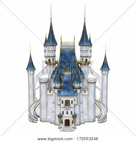 3D rendering of a fairy tale castle isolated on white background
