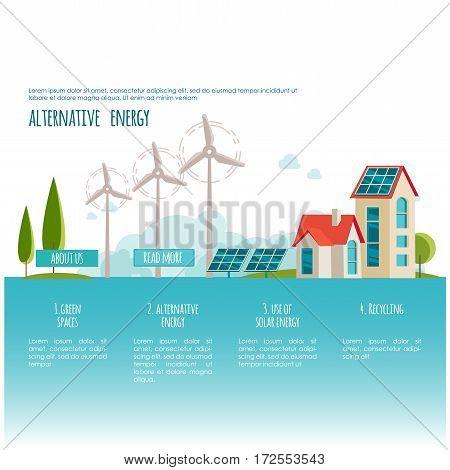 Eco urban landscape. Alternative energy. Solar, wind power. Web page concept for your design