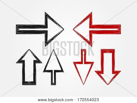 Vector set of pointers arrow icons. Black and red version. Imitation pen drawing by hand.