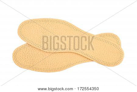 Pair of shoe insoles isolated over the white background