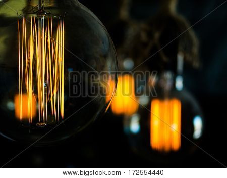 Vintage incandescent lamp Edison type bulbs. close-up