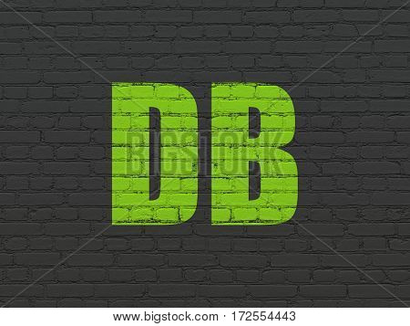 Stock market indexes concept: Painted green text DB on Black Brick wall background