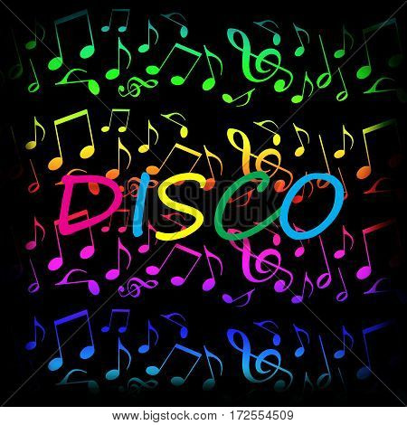 Disco music bright party colorful background with dancing musical notes