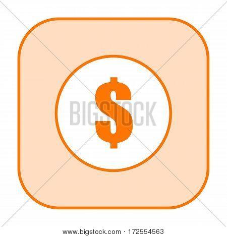 Dollar mark orange icon isolated on white background