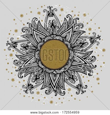 Floral medallion pattern. The raster version hand drawn vintage frame. Mandala ornament. Can be used for textile, greeting card, coloring book, phone case print.