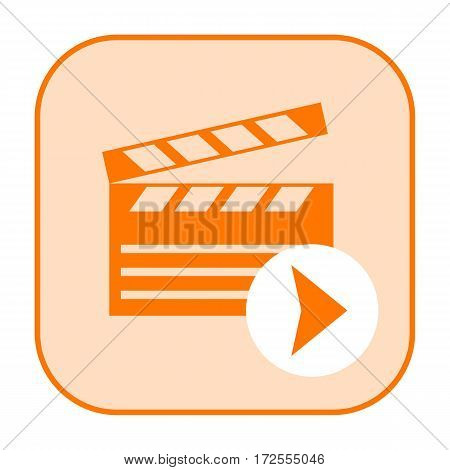 Movie icon with clapper board isolated on white background