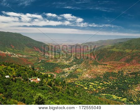 Panorama view to Atlas mountains and valley Morocco