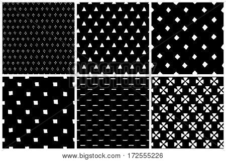 Black and white simple ethnic grunge seamless patterns set, vector background